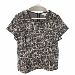 Black & White Textured Short Sleeve Peplum Top